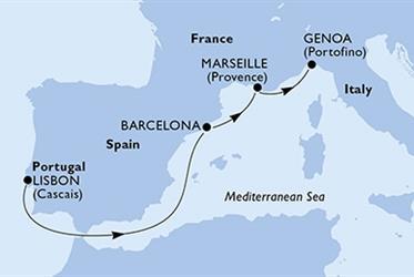 MSC Virtuosa - Portugalsko,Španělsko,Francie,Itálie (z Lisabonu)