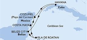 Kuba, Belize, Honduras, Mexiko z Havany na lodi MSC Armonia