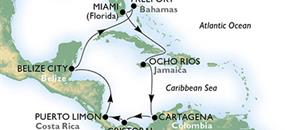 USA, Jamajka, Kolumbie, Panama, Kostarika, Belize, Bahamy z Miami na lodi MSC Divina