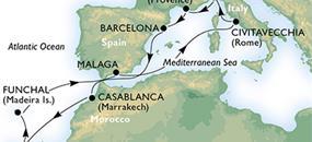 Španělsko, Maroko, Portugalsko, Itálie, Francie z Barcelony na lodi MSC Orchestra