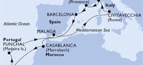 Španělsko, Maroko, Portugalsko, Itálie, Francie z Janova na lodi MSC Orchestra