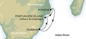 Jihoafrická republika, Mosambik z Durbanu na lodi MSC Sinfonia