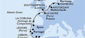 Francie,, Portugalsko, Španělsko, Nizozemsko, Německo, Velká Británie z Hamburku na lodi MSC Magnifica