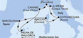 Itálie, Francie, Španělsko z Civitavecchia na lodi MSC Fantasia