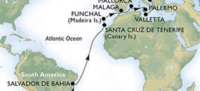 Brazílie, Španělsko, Portugalsko, Itálie, Malta, Chorvatsko z Rio de Janeira na lodi MSC Musica