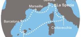 Itálie, Španělsko, Francie z La Spezia na lodi Costa Magica