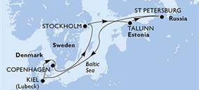 Po přístavech Baltu z Kielu na lodi MSC Preziosa