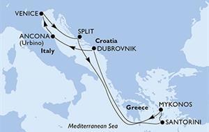 Prosluněný Jadran a řecké ostrovy z Ancony na lodi MSC Sinfonia