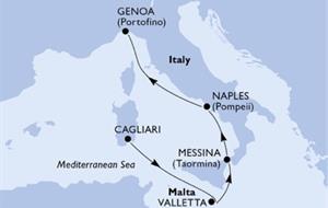 Itálie, Malta z Cagliari na lodi MSC Opera