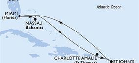 USA, Antigua a Barbuda, Bahamy z Miami na lodi MSC Seaside