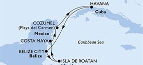Kuba, Belize, Honduras, Mexiko z Cozumelu na lodi MSC Armonia