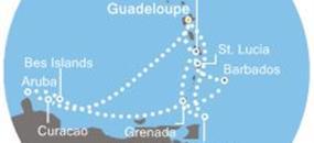 Guadeloupe, Trinidad a Tobago, Grenada, Barbados, Karibské moře, Martinik, Curacao, Aruba, Bonaire z Pointe-à-Pitre, Guadeloupe na lodi Costa Magica