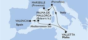 Francie, Itálie, Malta, Španělsko z Marseille na lodi MSC Poesia