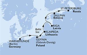 Německo, Polsko, Litva, Lotyšsko, Estonsko, Rusko z Warnemünde na lodi MSC Orchestra