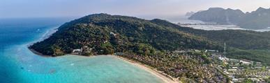 Saii Phi Phi Island Village, Phi Phi - pláž Loh Bagao, Katathani Resort, Phuket - pláž Kata, Bangkok Palace Hotel, Bangkok **